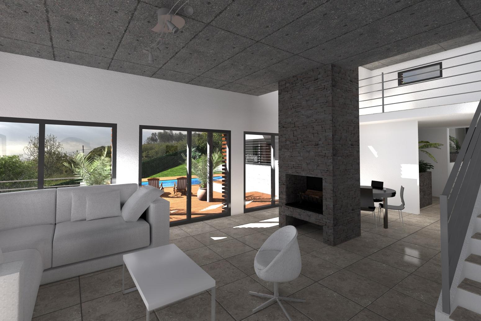 Projet de villa corb re les cabanes 66 aymeric de for Interieur villa